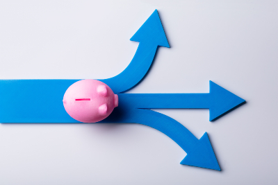 Piggy bank blue arrow